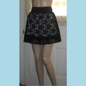 JOE BENBASSET Black Lace Mini Skirt Elastic waist
